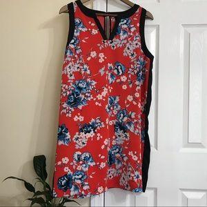 Large Kenzie Floral Dress with Black stripe